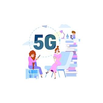 Comunicação de pessoas por conexão rápida wi-fi conceito 5g. objetos isolados