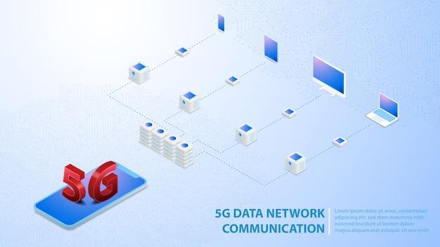 Comunicação de rede de dados 5g internet hispeed sem fio