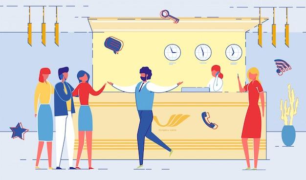 Comunicação de trabalhadores de escritório na recepção plana.