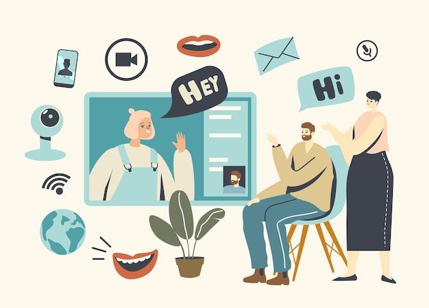 Comunicação de vídeo, bate-papo via internet com tecnologias digitais