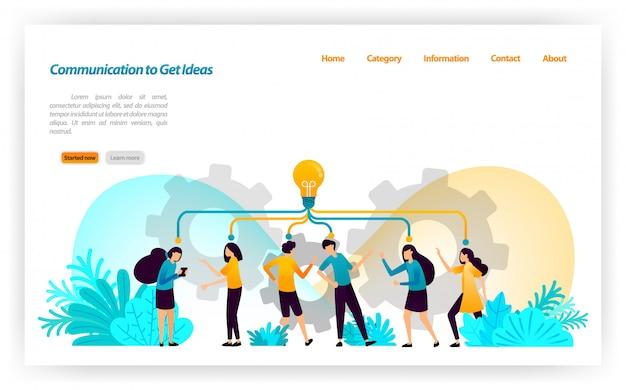 Comunicação, discussão, fala e diálogo para obter idéias e inspiração no gerenciamento de conceitos e estratégias. modelo de página da página de destino