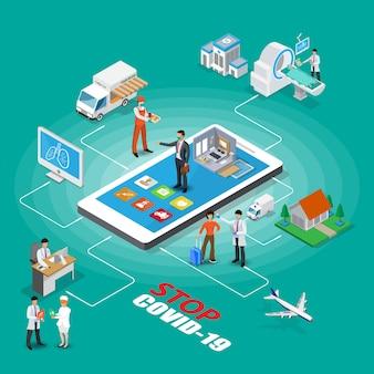 Comunicação e relacionamento médico paciente terapêutico no resumo de coleção de ícones isométrica de prática médica clínica isolada