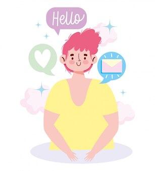 Comunicação e tecnologia de pessoas, mensagem de correio de menino romântico