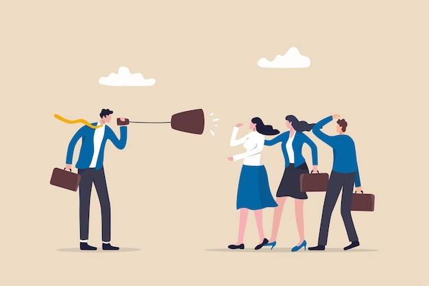 Comunicação eficaz, mensagem clara e concisa, habilidade de liderança para se comunicar com o conceito de equipe, gerente de empresário de confiança fala com a equipe através do megafone em uma reunião de discussão clara.