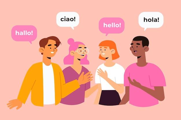 Comunicação em vários idiomas