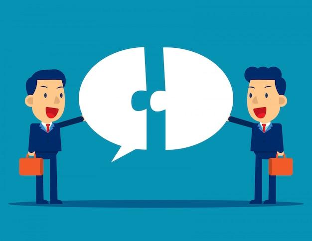 Comunicação empresarial com bolha do discurso