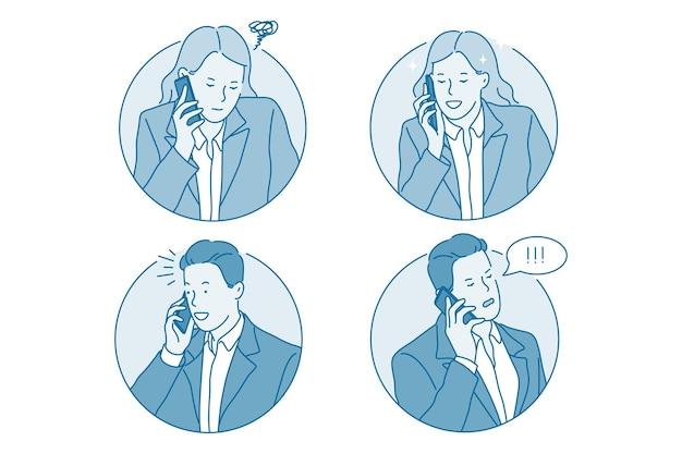 Comunicação empresarial, conceito de telefone Vetor Premium