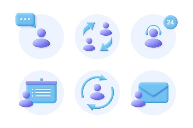 Comunicação empresarial conjunto de ícones 3d realista. sinais corporativos. ilustração vetorial.