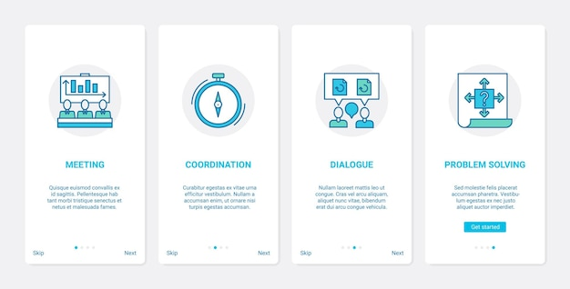 Comunicação empresarial, reunião, conferência ux ui, onboarding, aplicativo móvel, tela, conjunto de tela