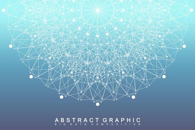 Comunicação gráfica de fundo abstrato. visualização de big data. pano de fundo em perspectiva com linhas e pontos conectados. rede social. ilusão de profundidade. ilustração vetorial.