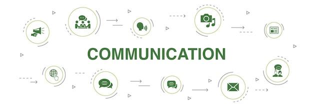 Comunicação infográfico 10 etapas círculo design.internet, mensagem, discussão, ícones simples de anúncio