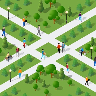 Comunicação isométrica do estilo de vida das pessoas em um ambiente urbano em um parque com bancos e árvores