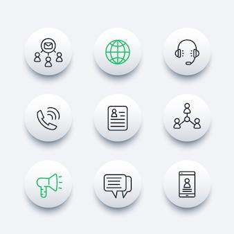 Comunicação, mídia e conjunto de ícones de linha social