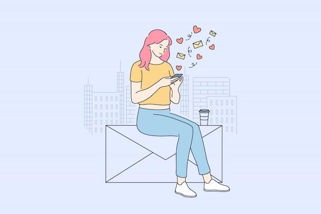 Comunicação, mídia social, rede, tecnologia, conceito de blogs