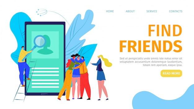 Comunicação na internet, ilustração do conceito de tecnologia móvel. as pessoas encontram amigos no aplicativo da web de smartphone. personagem de mulher homem no aplicativo de desenho animado de mídia social on-line.