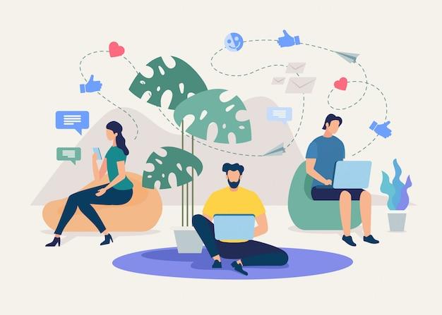 Comunicação on-line de equipe de negócios