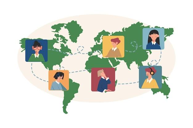 Comunicação online através da internet em todo o mundo