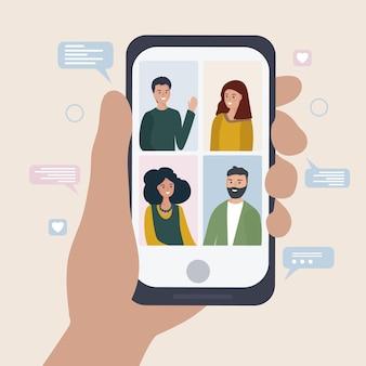 Comunicação online entre um grupo de pessoas usando o aplicativo móvel
