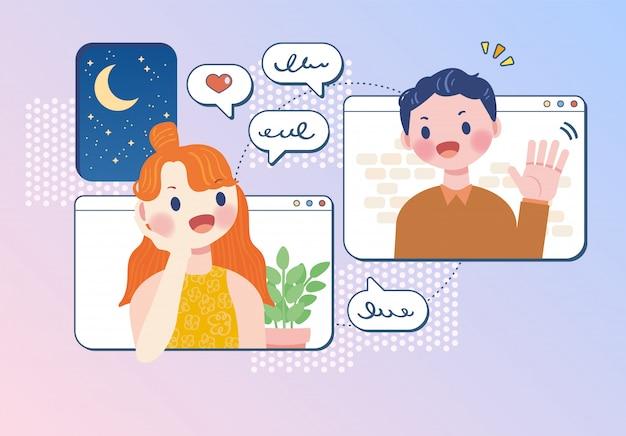 Comunicação online falando reunião em vetor de ilustração em casa