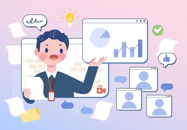 Comunicação online falando sobre rede de empresários reunião em casa