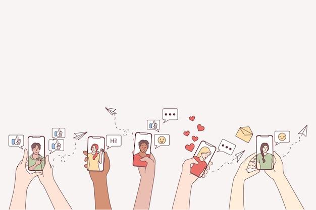Comunicação online, namoro, usando o conceito de smartphone.