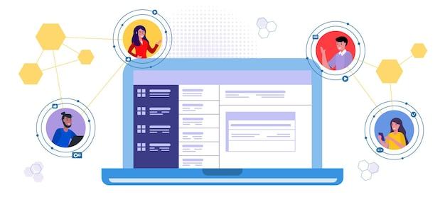Comunicação online por videoconferência com pessoas cumprimentando seus colegas no messenger