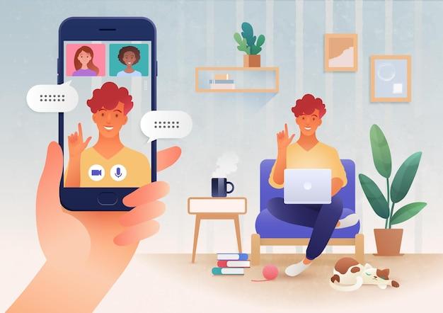 Comunicação online virtual via aplicativo de videochamada entre amigos usando ilustração de dispositivos inteligentes