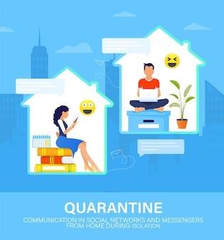 Comunicação pela internet em redes sociais e mensageiros durante a quarentena.