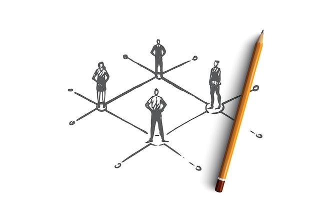 Comunicação, pessoas, negócios, grupo, conceito de conversa. mão desenhada pessoas se comunicam uns com os outros esboço de conceito.