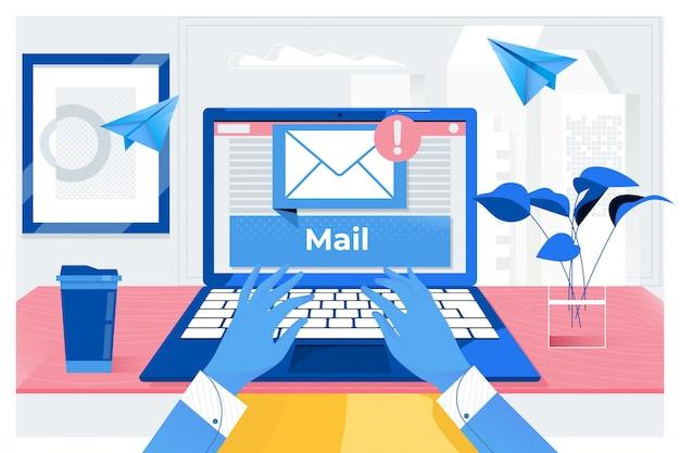 Comunicação por email.