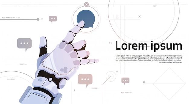 Comunicação robótico dos robôs de bolha do bate-papo do toque da mão e conceito da inteligência artificial