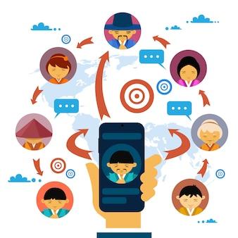 Comunicação social media e conceito de rede com a mão segurando o telefone inteligente
