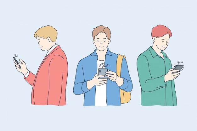 Comunicação, vício, tecnologia, mídias sociais, conceito de amizade.