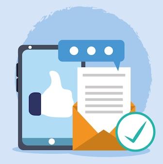 Comunicações como smartphone e e-mail Vetor Premium