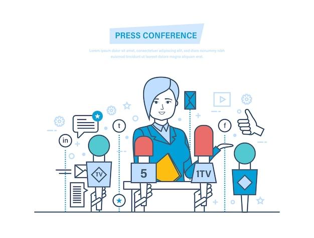 Comunicações e diálogos de reportagens ao vivo, entrevistas, perguntas, mídia, notícias