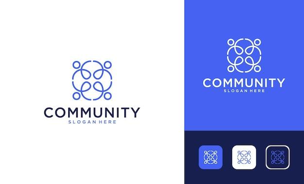 Comunidade com design de logotipo de arte de linha