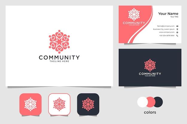 Comunidade com design de logotipo de coração e cartão de visita