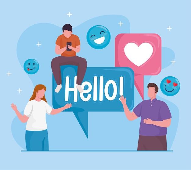 Comunidade com ilustração de ícones de conjunto de mídia social