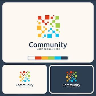 Comunidade, conexão, inspiração de design de logotipo