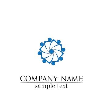 Comunidade cuidados logotipo pessoas ícones no conceito de vetor de círculo