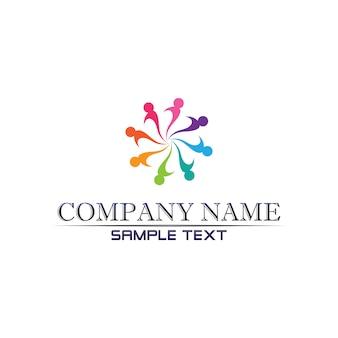 Comunidade cuidados logotipo pessoas no conceito de vetor de círculo