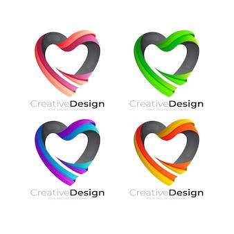 Comunidade de design de logotipo love care, 3d colorido