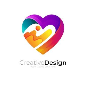 Comunidade de logotipo social, modelo de ícone de amor e cuidados, 3d colorido
