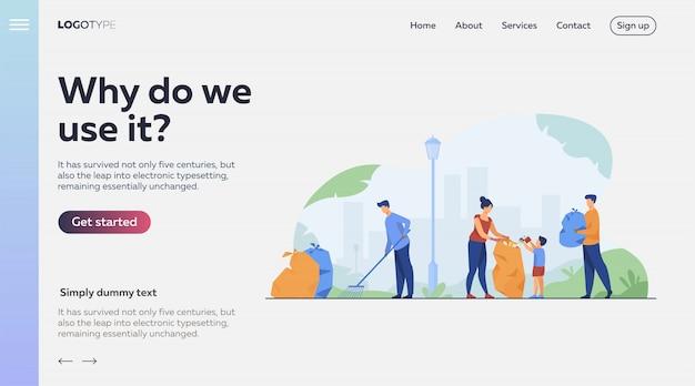Comunidade de voluntários, limpeza de ilustração de lixo