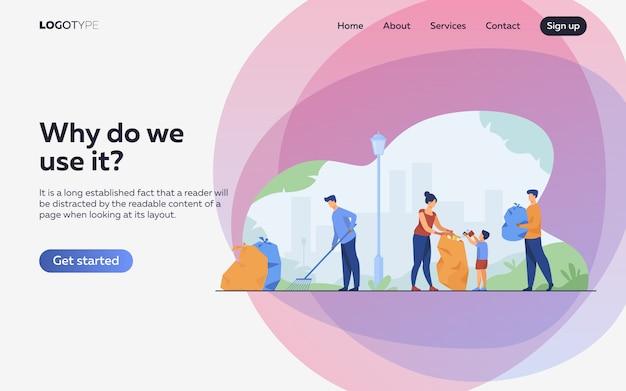 Comunidade de voluntários limpeza ilustração plana de lixo. página de destino ou modelo da web