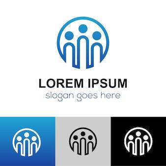 Comunidade humana de pessoas abstratas, design de logotipo de unidade familiar em conjunto