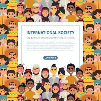 Comunidade internacional com diferentes povos multiculturais masculinos e femininos.