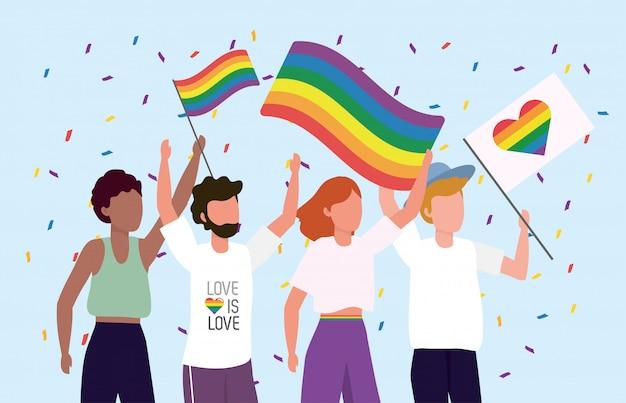 Comunidade lgbt juntos para celebrar a liberdade de desfile
