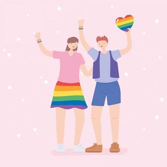Comunidade lgbtq, homem e mulher felizes com coração de arco-íris, desfile gay de protesto contra discriminação sexual