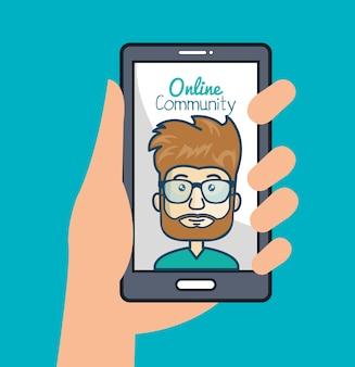 Comunidade on-line com a mão segurando o smartphone